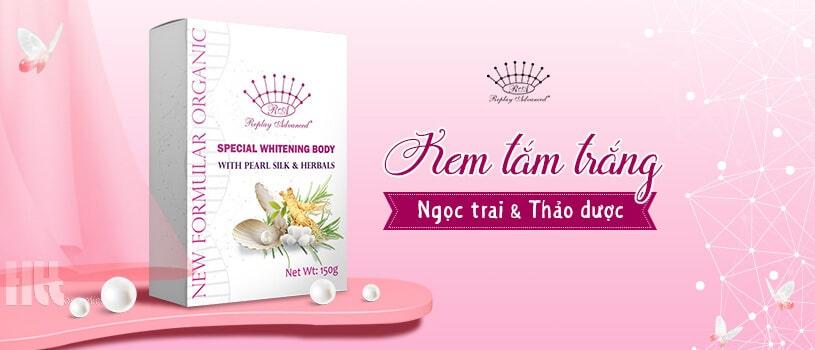 Kem tắm trắng Replay Advanced ngọc trai và thảo dược - Hoa Thiên Thảo