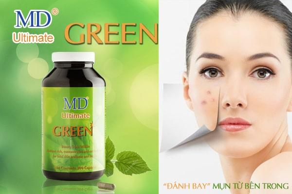 Viên uống trị mụn MD Ultimate Green giúp giải độc tố